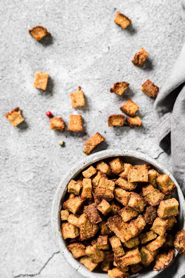 Air Fryer Low Carb Croutons in a bowl