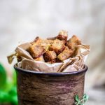 Keto Low Carb Crispy Croutons in a bowl with herbs
