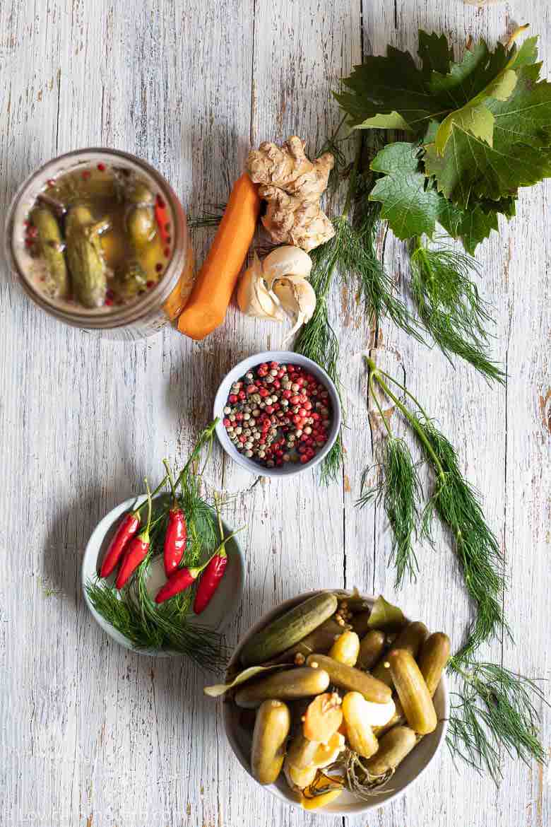 Dill Pickles Recipe with chilli and peppercorns