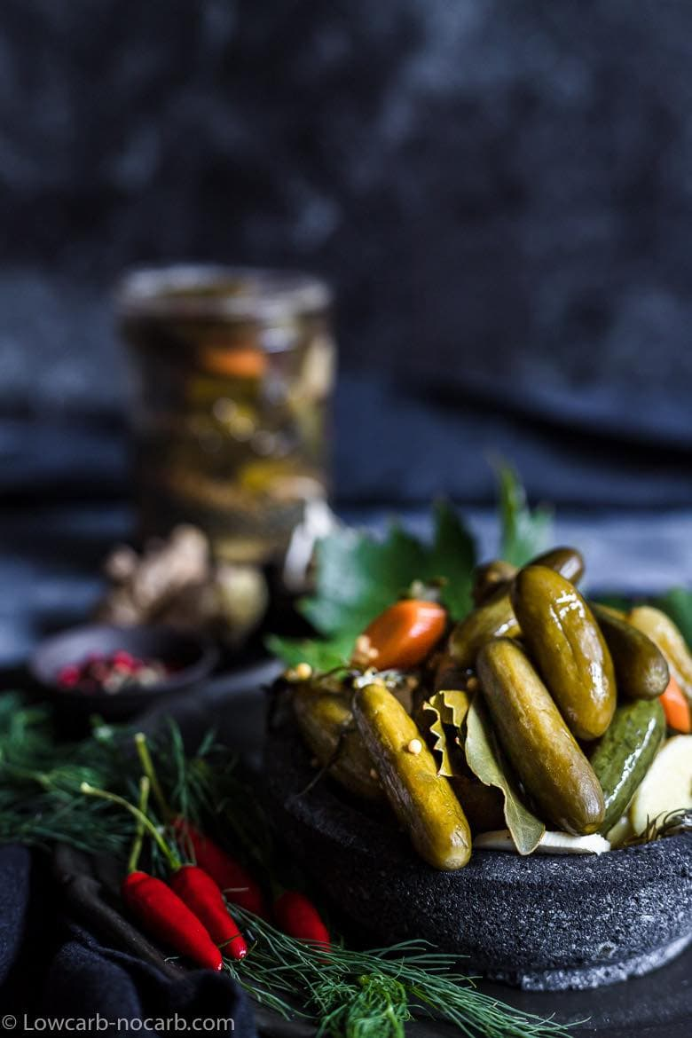 Keto Pickles served