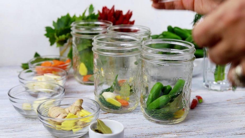 preparing to ferment the cucumbers