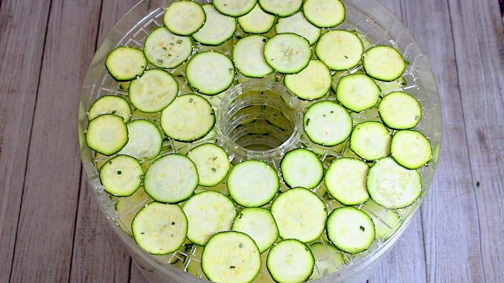 zucchini slices on a dehydrator tray
