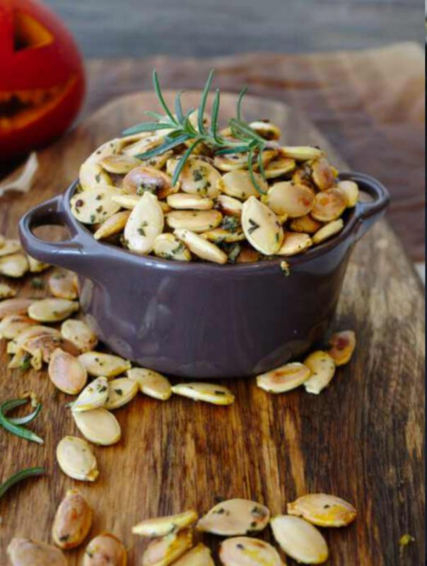 Crunchy Roasted Pepitas with rosemary and garlic
