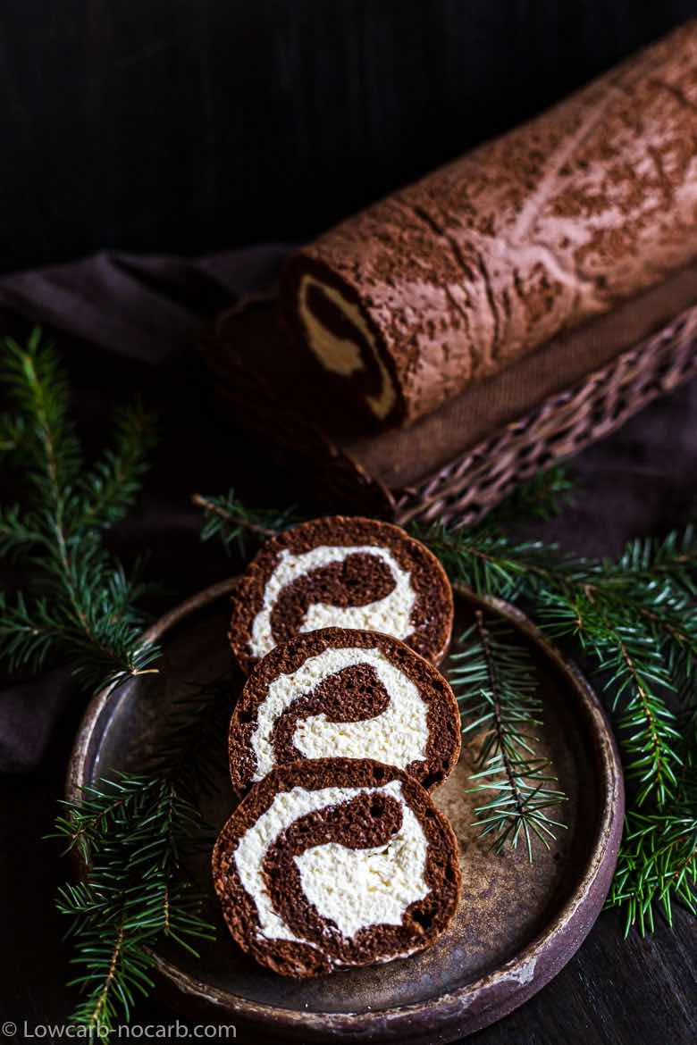 Keto Chocolate Roll with Cocoa Powder