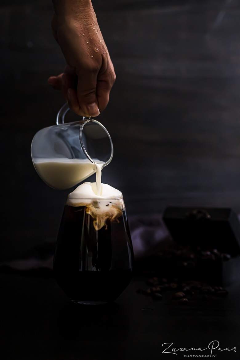 Milk poured over Cold Coffee