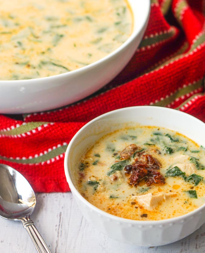 Creamy Sun Dried Tomato Chicken Soup - a low carb, rich and tasty soup!