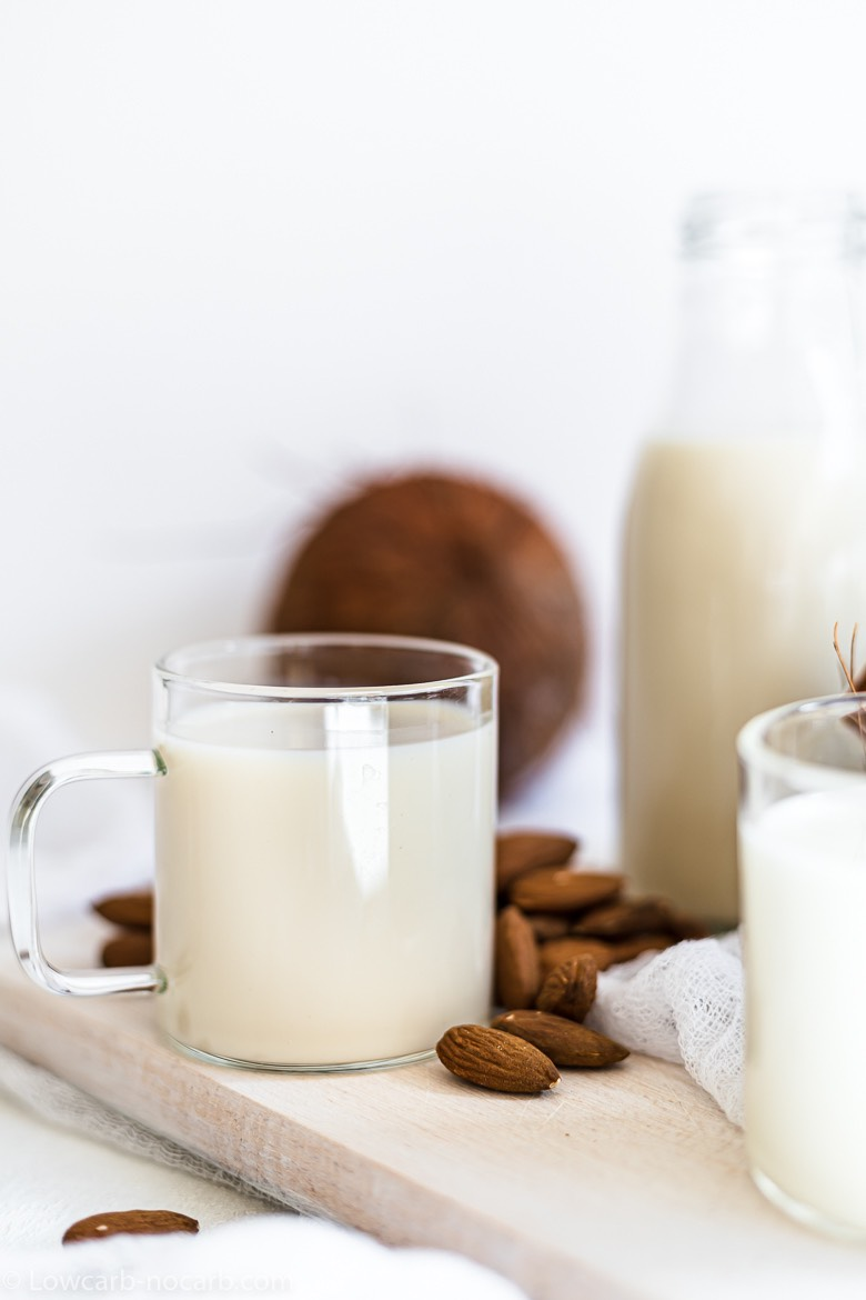low carb almond and coconut milk in a glasses