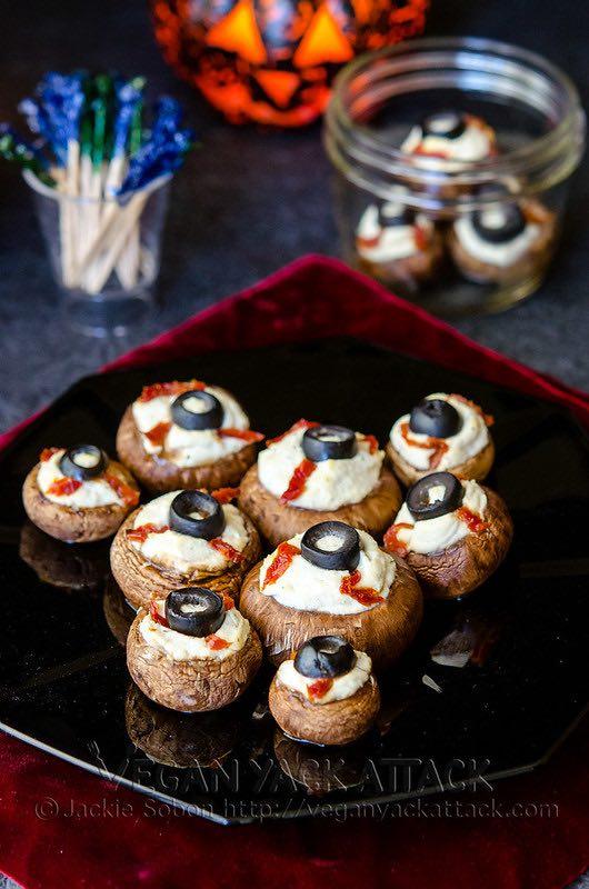 Stuffed Mushroom Eyeballs for Halloween!