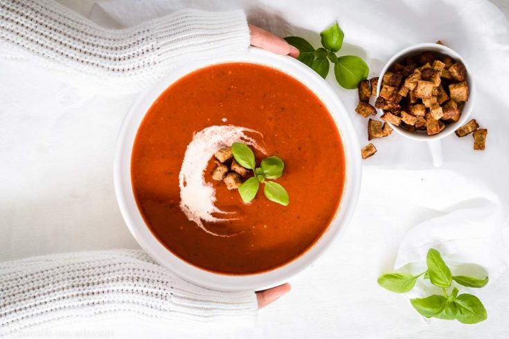 Low Carb Roasted Tomato Basil Soup recipe with fresh beefsteak tomatoes