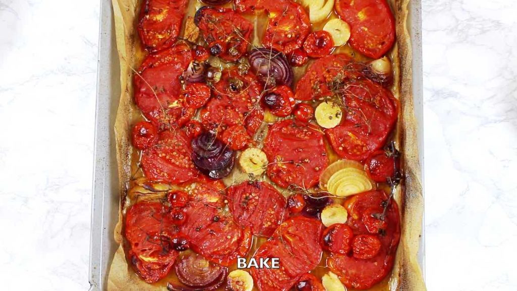 baked vegetables for a low Carb Basil Soup