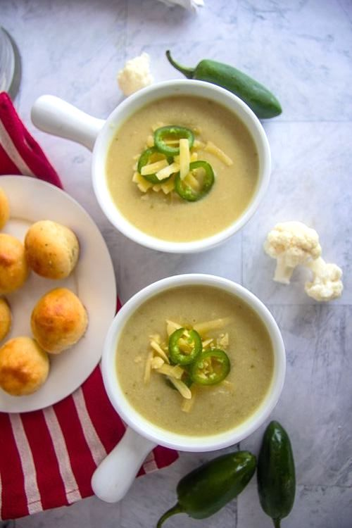 Cauliflower, Cheese and Jalapeno Soup