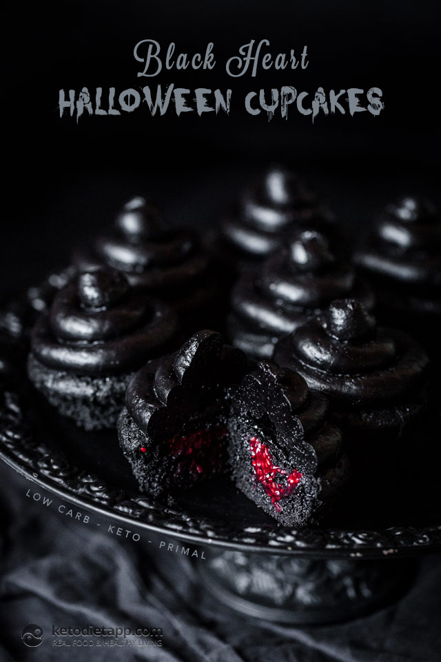 Low-Carb Black Heart Halloween Cupcakes | KetoDiet Blog