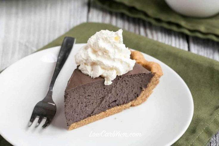 Easy Chocolate Mousse Pie with Peanut Crust - Sugar Free