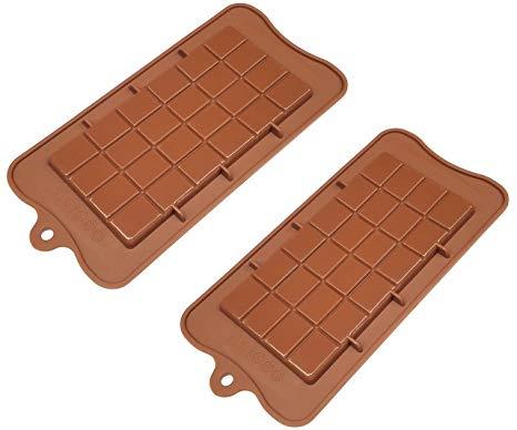 2 Pack Non-Stick Silicone Break Apart Chocolate Bar Mold