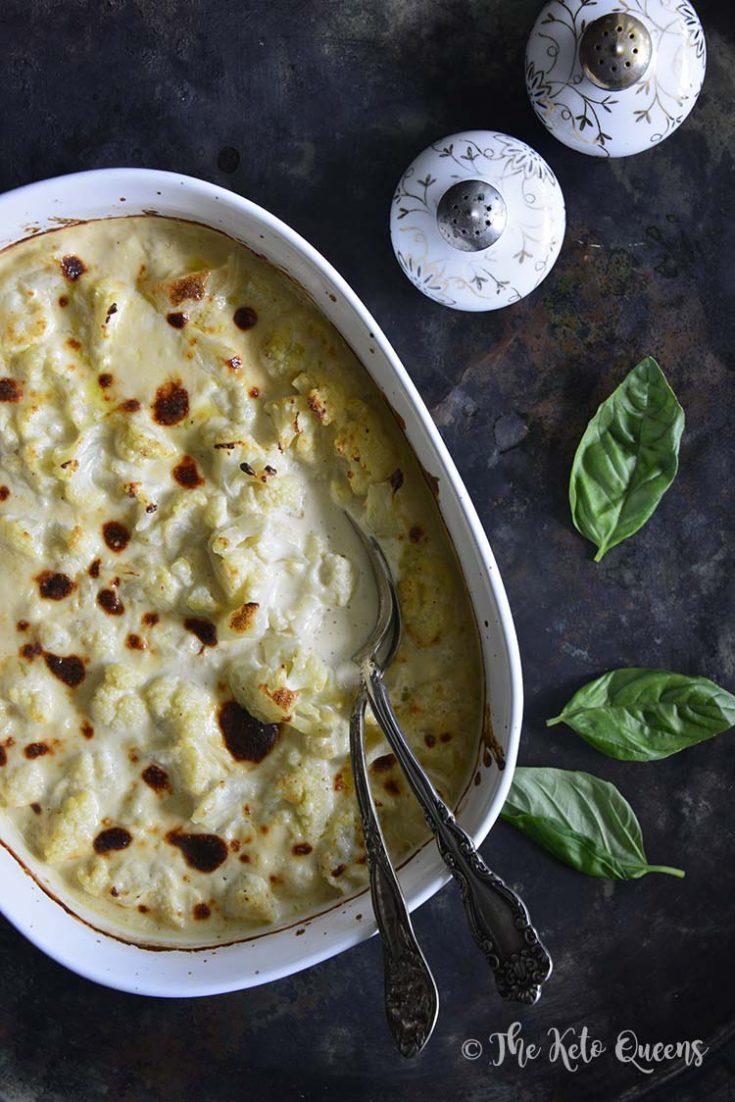 Keto White Wine and Cheddar Cauliflower Cheese Casserole