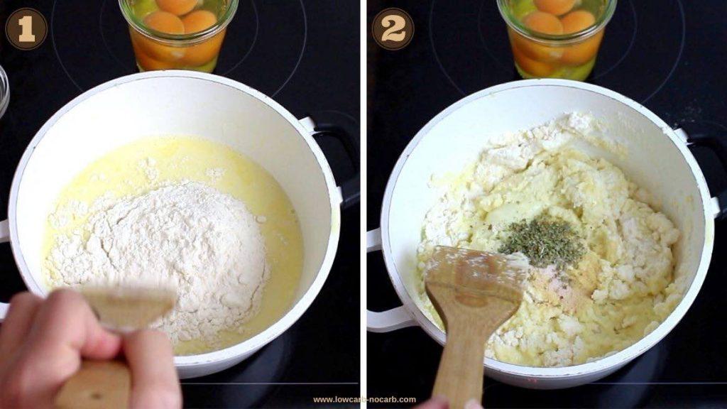 mixing coconut flour into a Fathead dough