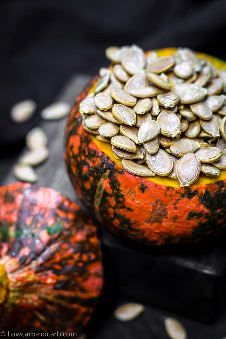 Roasted Pumpkin Seeds in a whole Pumpkin