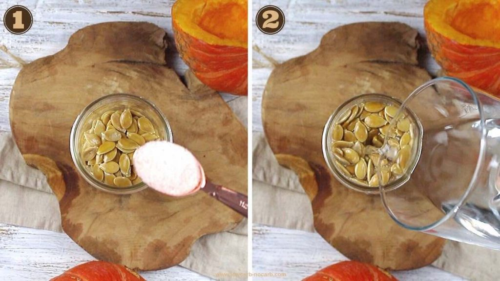 Adding water to a pumpkin seeds for soaking