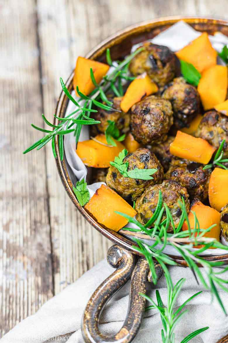 Meatballs with Rosemary in a baking dish