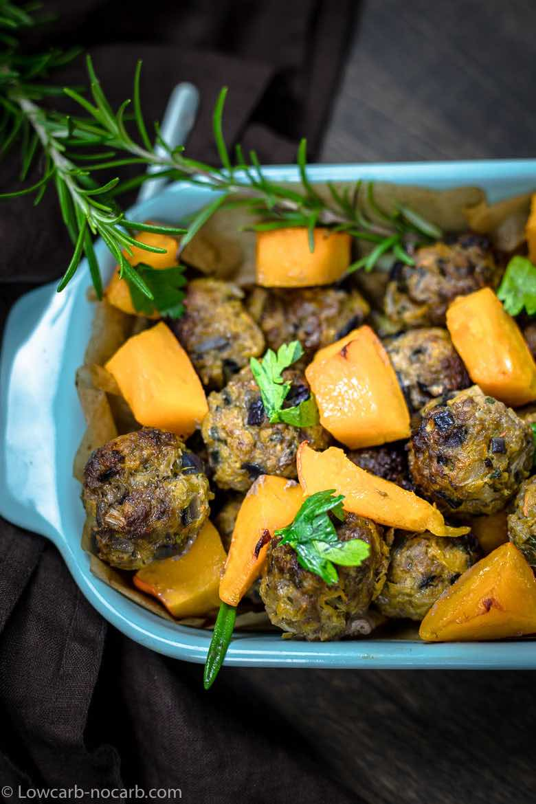 Roasted Pumpkin Meatballs Low Carb in a dish