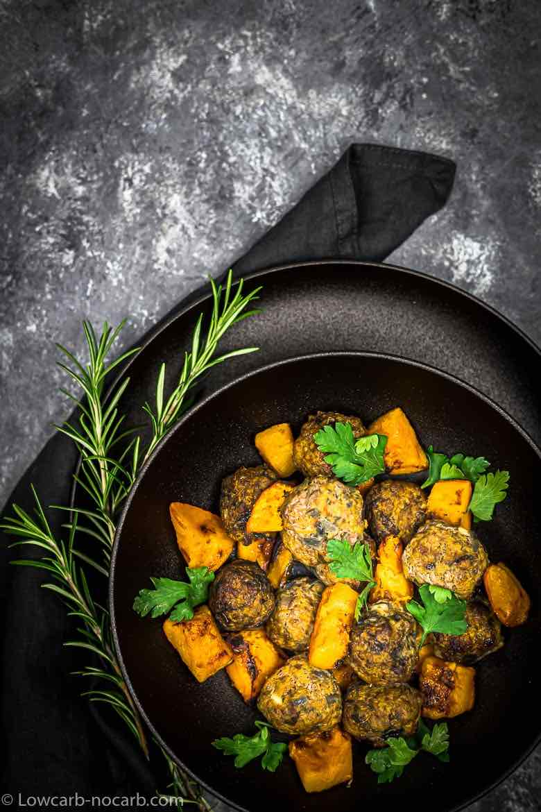Pumpkin Meatballs in a black plate