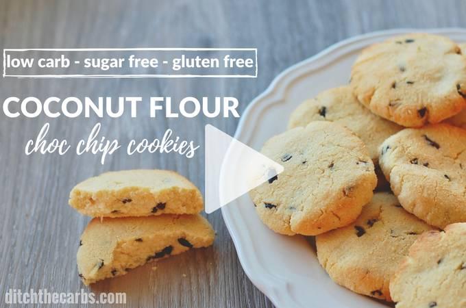 Sugar free coconut flour chocolate chip cookies - gluten free 2g net carbs