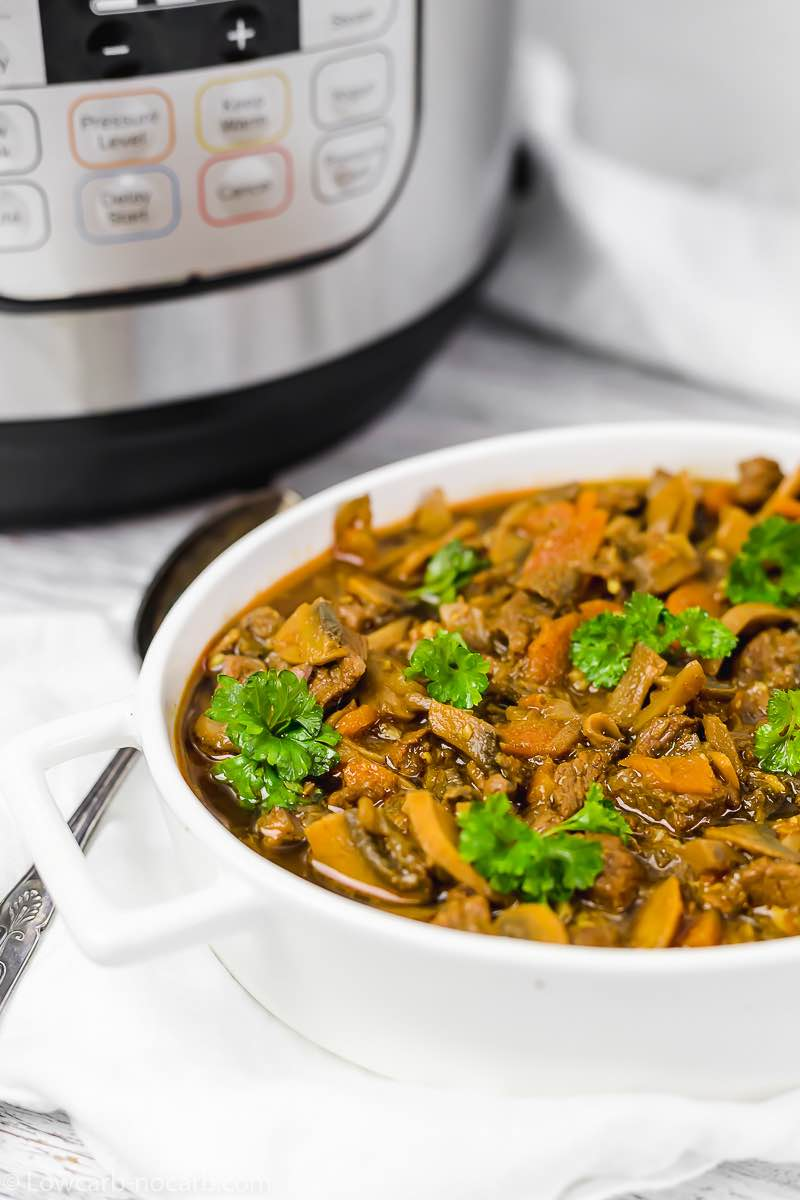 Ready made Keto Goulash in a white serving bowl