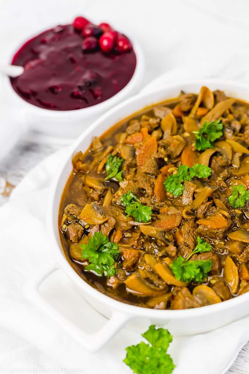 Keto Goulash with Sugar-free Cranberry sauce