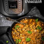 Low Carb Goulash in a Black serving dish