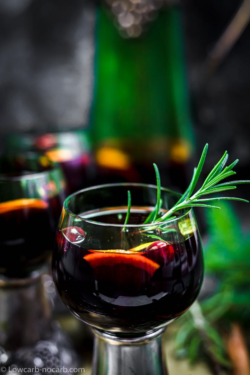 Rosemary inside a keto mulled wine glass