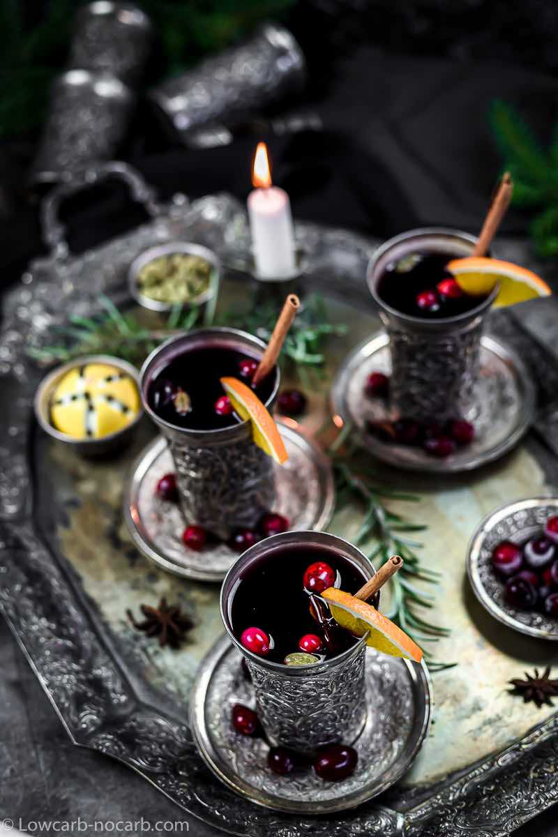 hot keto mulled wine in a silver jars