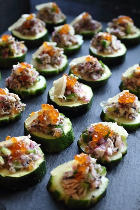 Tuna Mix on top of the baked Zucchini Slices