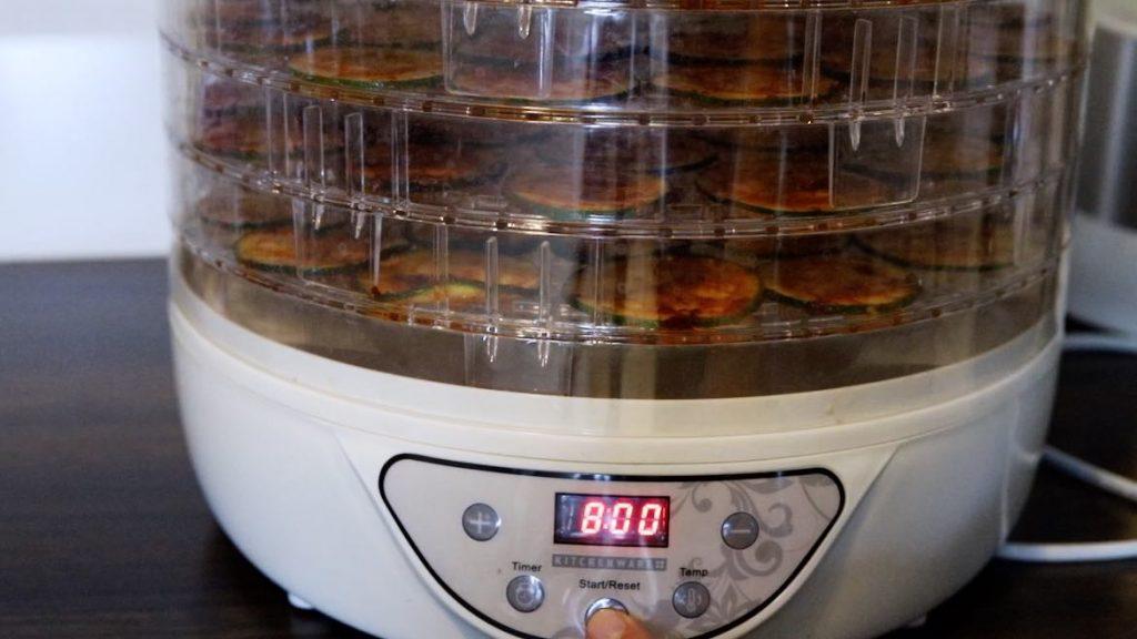Zucchini Chips bein in a Dehydrator
