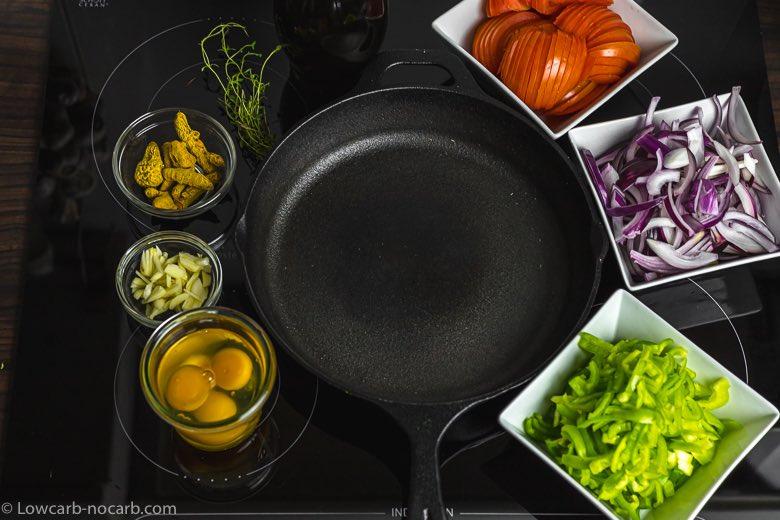 ingredients prepared for a vegetable stew recipe