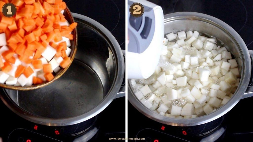 Cooking Turnip and carrots for Keto salad