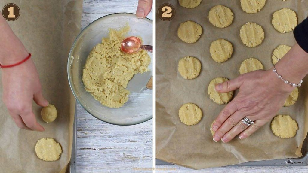 Shaping Gluten-Free Shortbread Cookies and placing onto the baking sheet