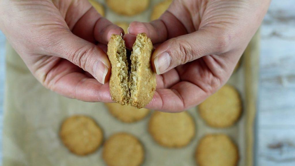 Keto Almond Flour Cookies breaking in half