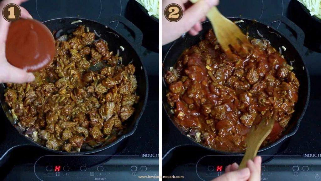 Keto Casserole mixing tomato sauce in