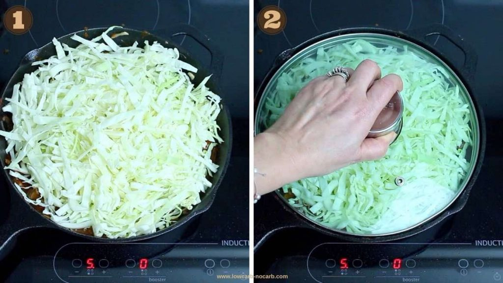 Adding a Cabbage into a skillet for keto Casserole