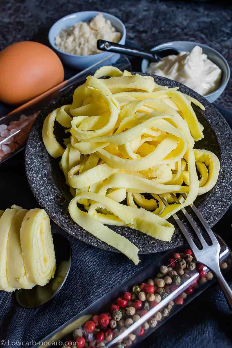 Keto Egg Noodles Almond Flour inside a black bowl for serving