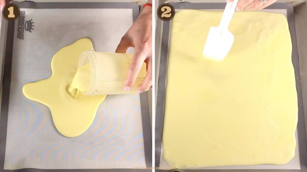 Keto Egg Noodles mix being poured onto a baking tray