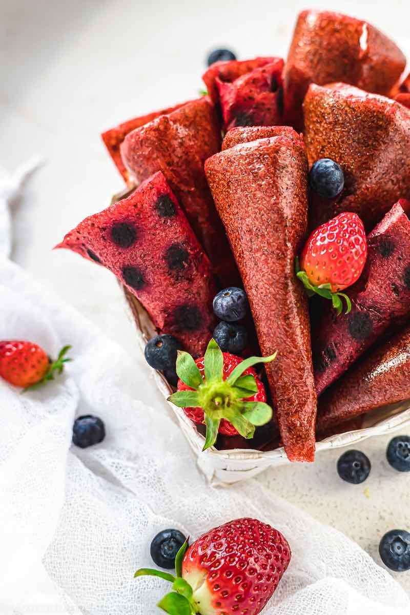 1 Ingredient Fruit Leather Recipe dehydrated in a white basket