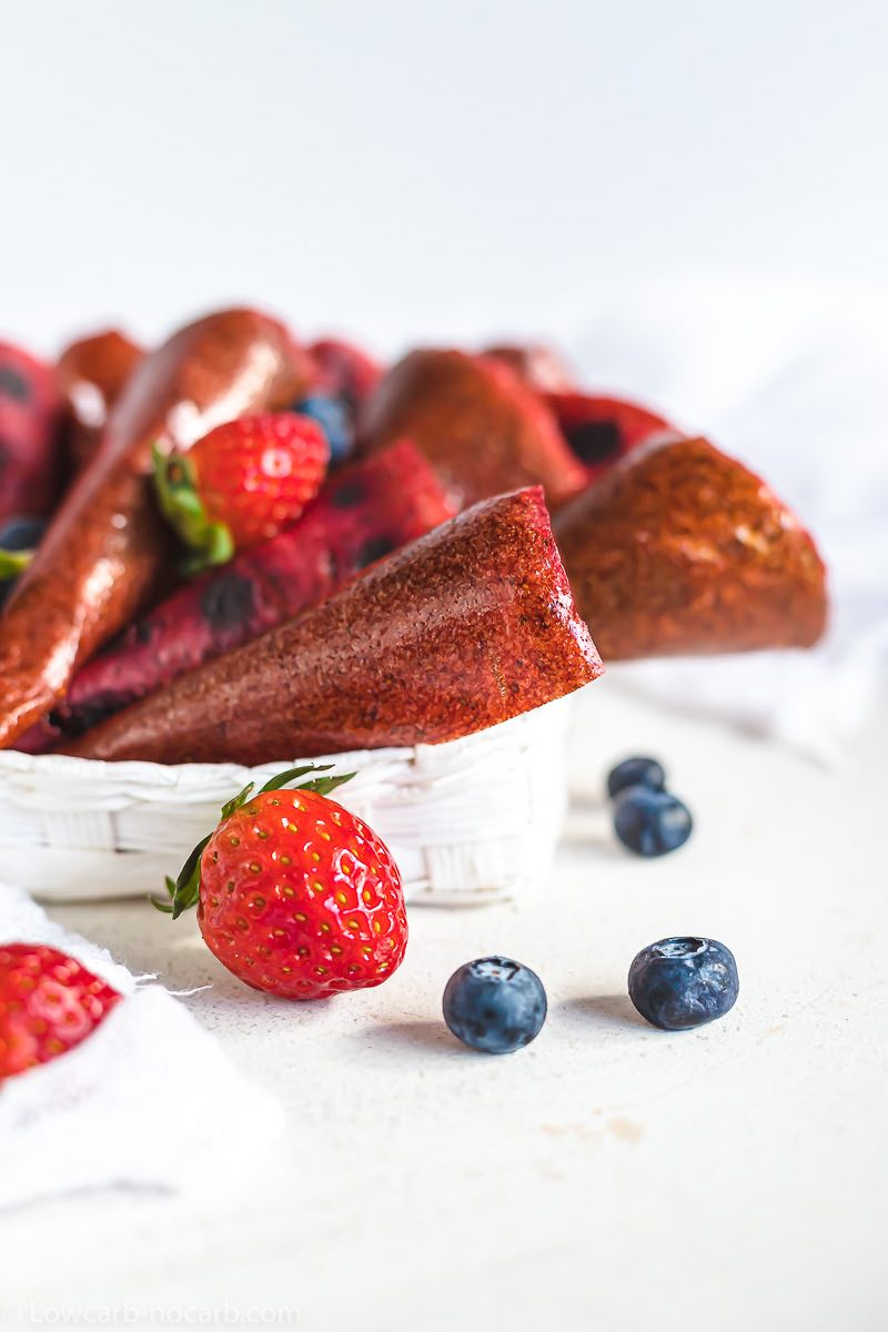 Berry Roll Ups ready to eat inside a white basket