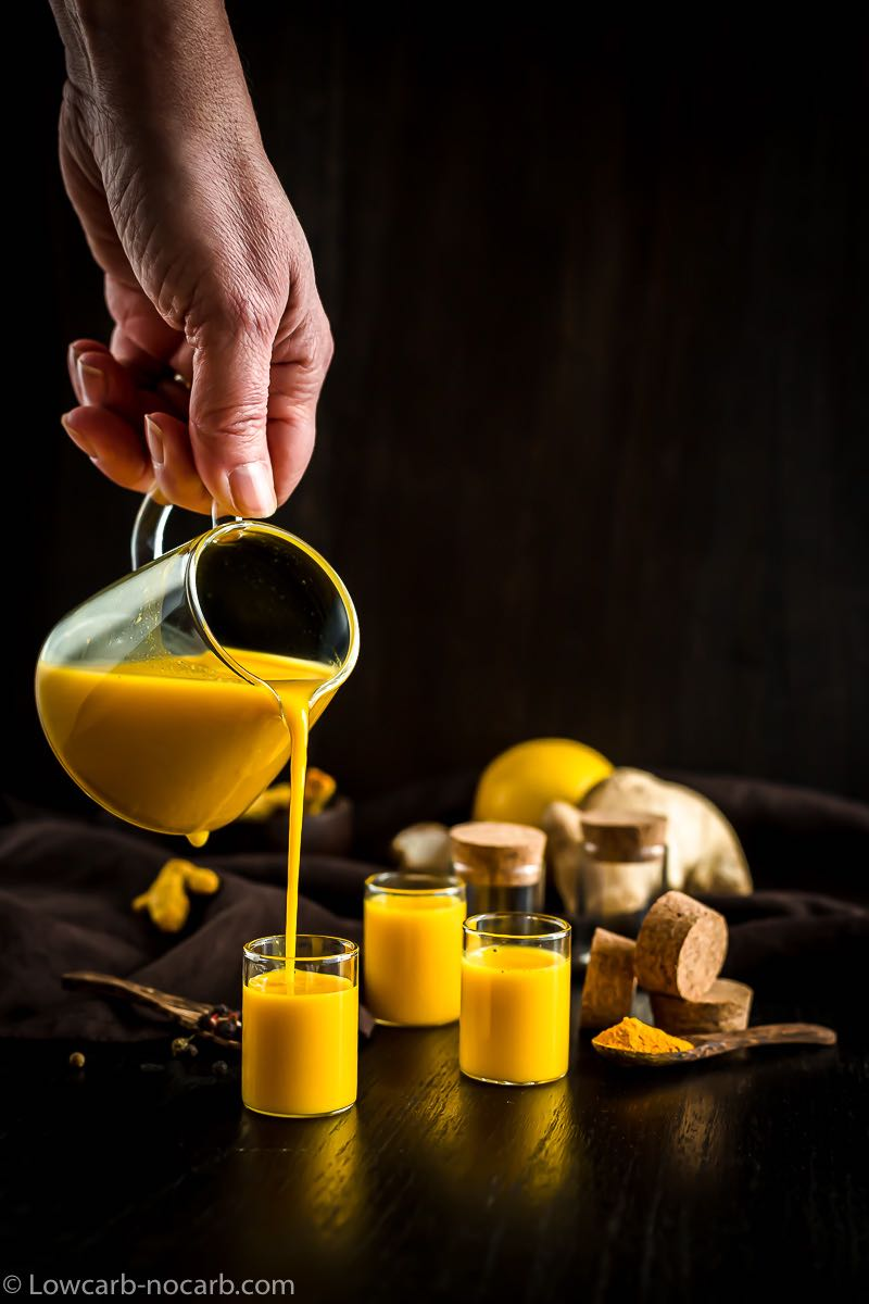 wellness shot recipe poured into small glasses