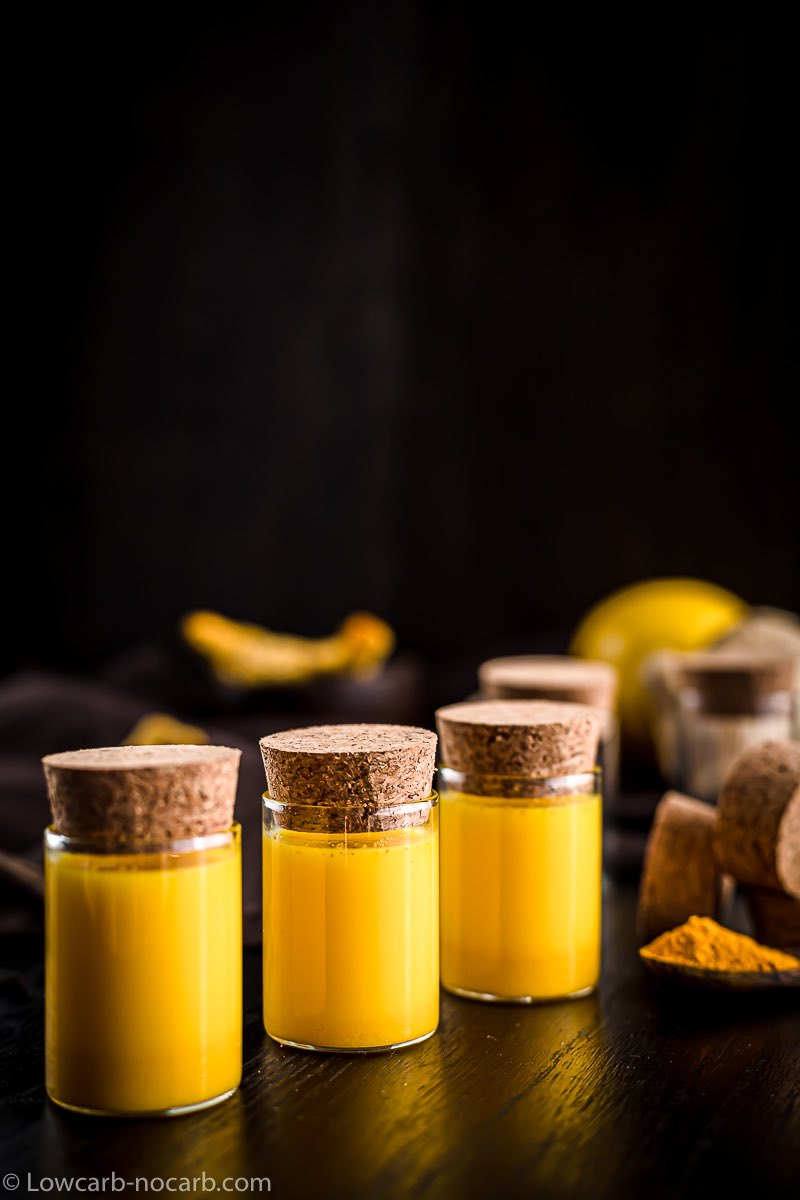 Benefits Of Turmeric in a small shots served