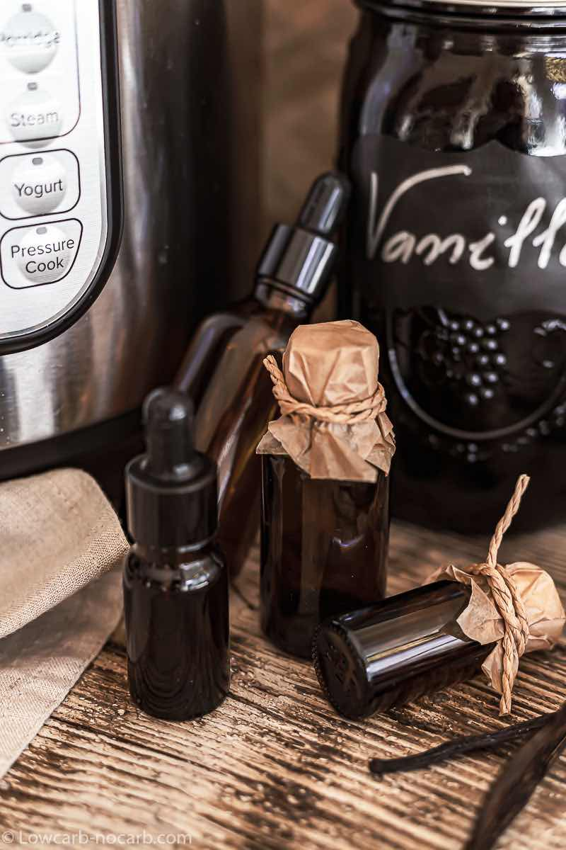Vanilla Extract in a glass bottles for use