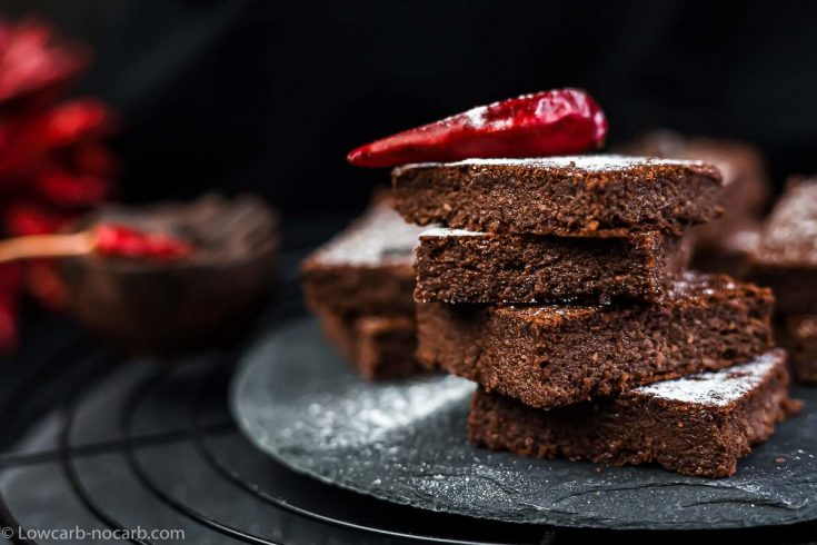 Spicy Keto Brownies recipe with chilli on top