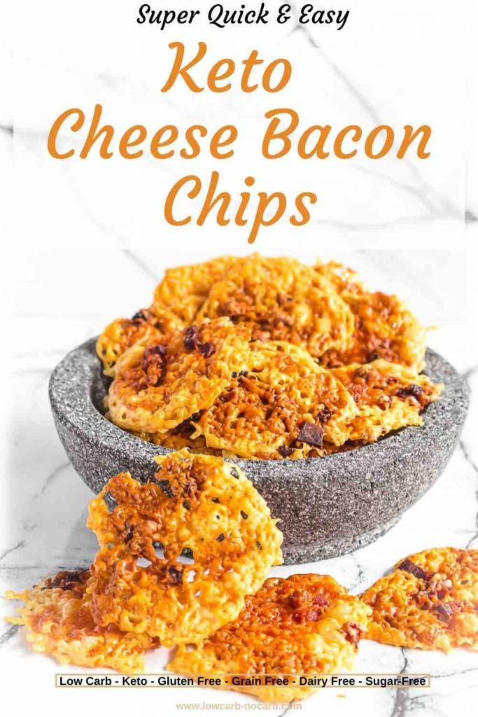 Keto bacon cheese chips in a grey bowl