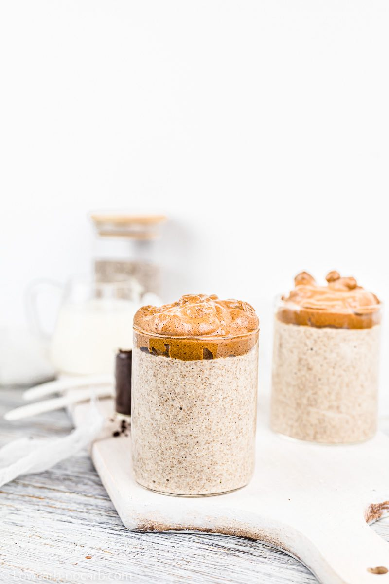Dalgona topping on Chia Pudding