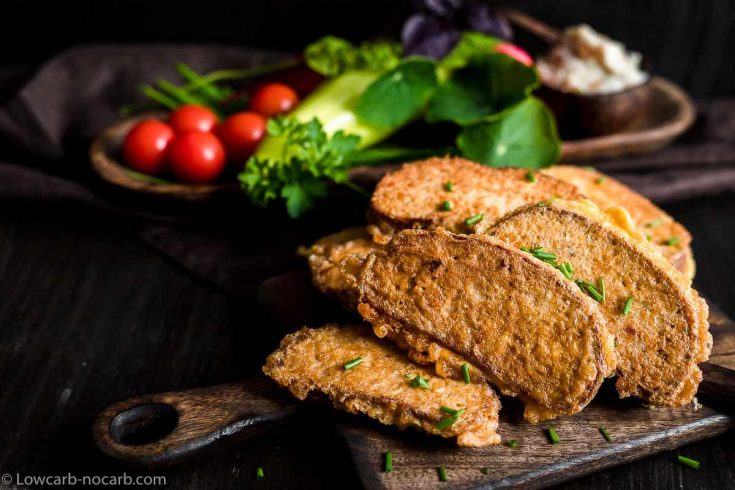Eggy Bread - French toast with vegetables on a wooden boards